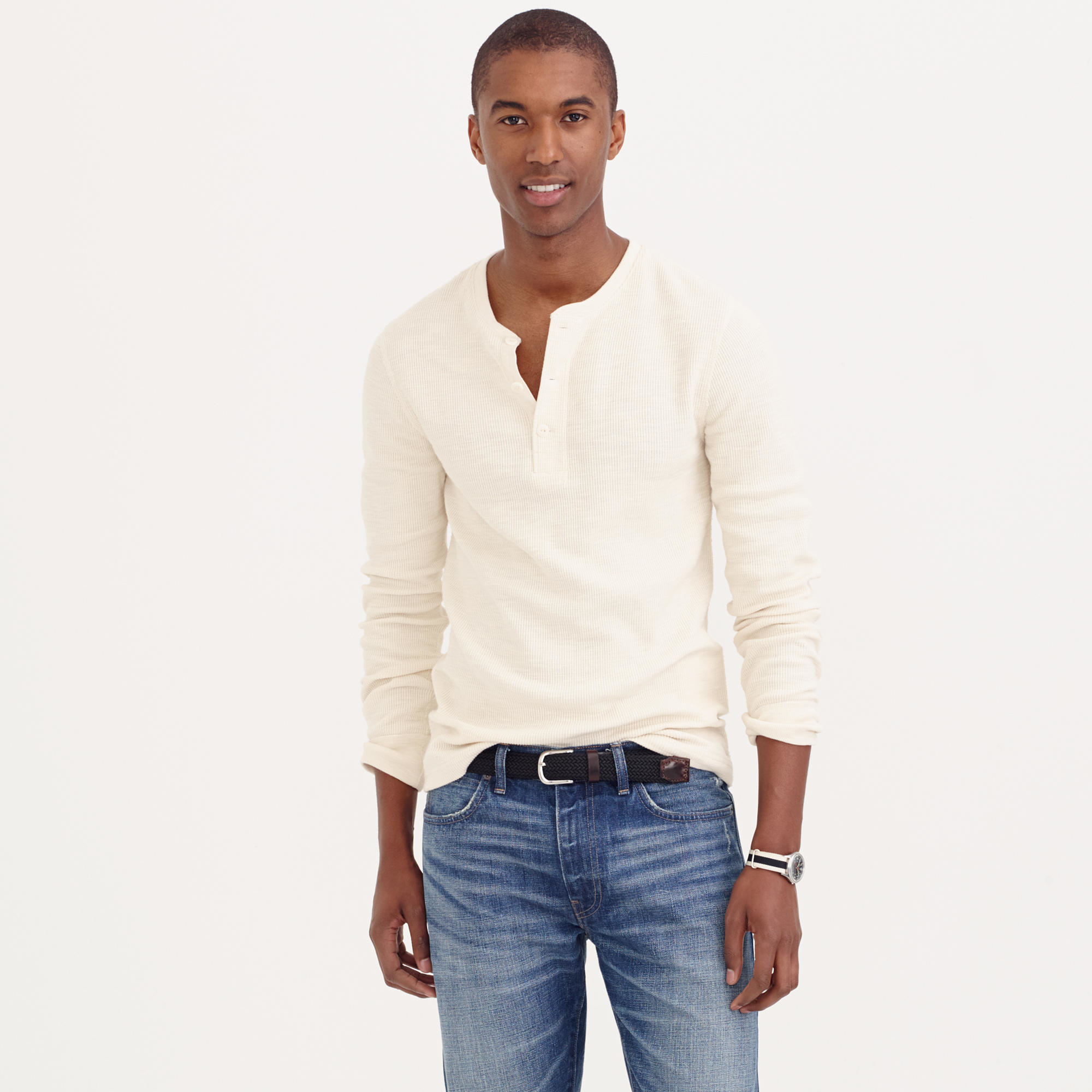 4c2314c1 J.Crew Tall Thermal Henley in Natural for Men - Lyst