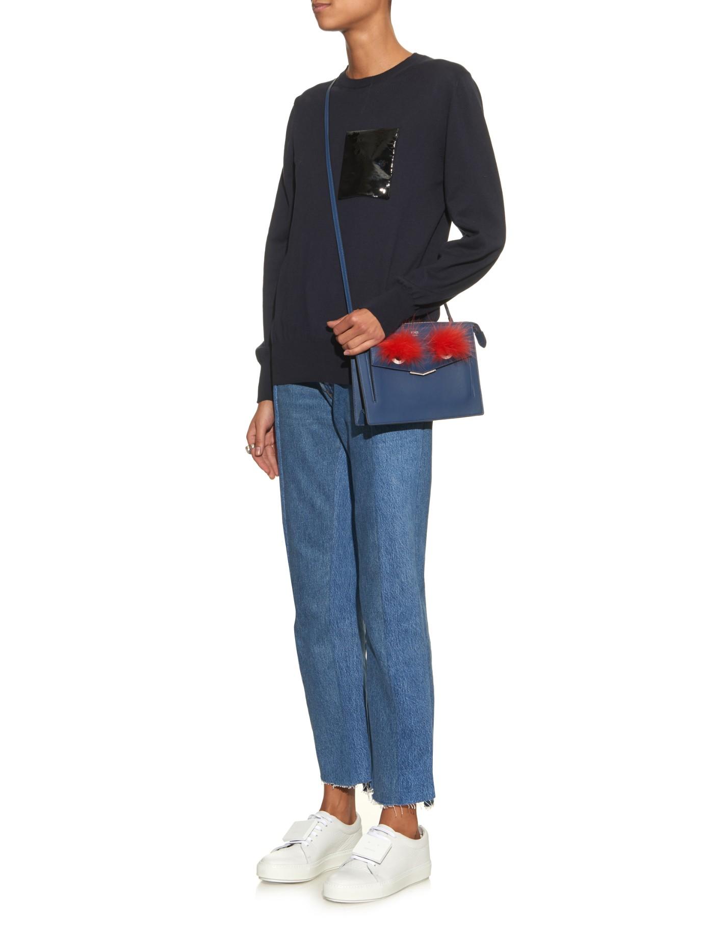 7bad6c592a55 ... cheapest lyst fendi 2jours bag bugs leather cross body bag in blue  d4e8d b6cbd