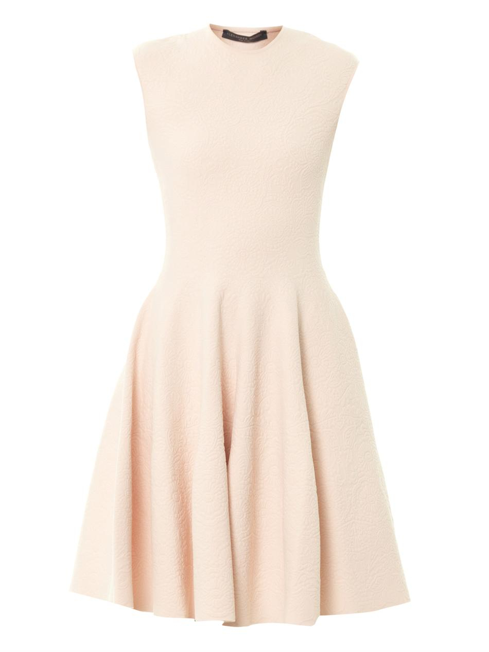 Lyst Alexander Mcqueen Floraljacquard Knit Dress In Pink