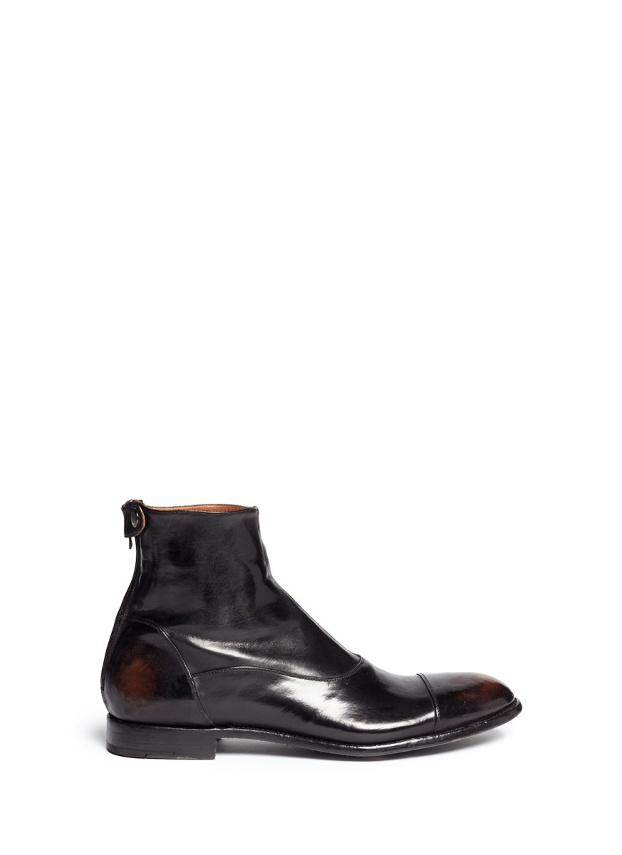 alberto fasciani zip distressed leather boots in black for