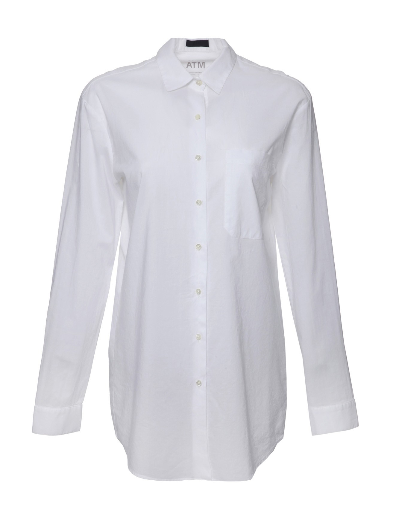 atm long sleeve cotton button down shirt in white lyst