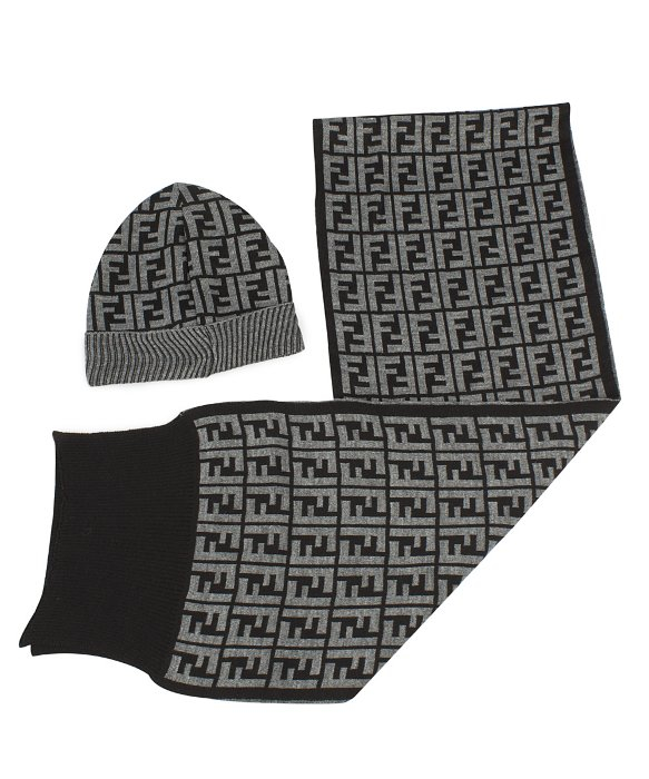 f797e477f101 ... coupon code lyst fendi hat and scarf set in grey in gray for men 9d9c0  43e7b