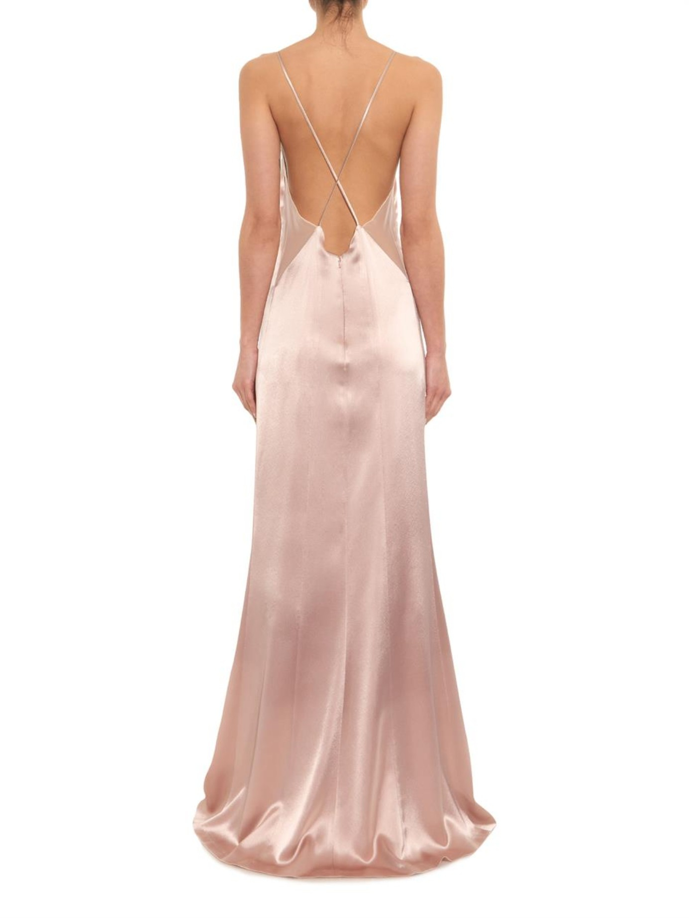Lyst - Galvan London Sheer-mesh And Satin Gown in Natural