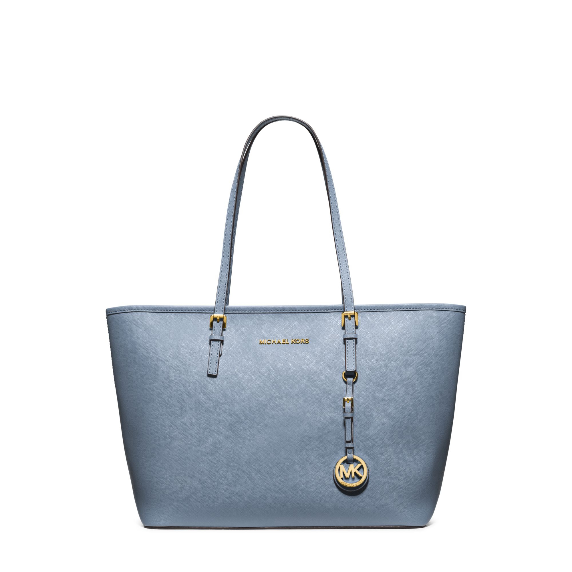 b49a11c85a Lyst - Michael Kors Jet Set Travel Saffiano Leather Top-zip Tote in Blue