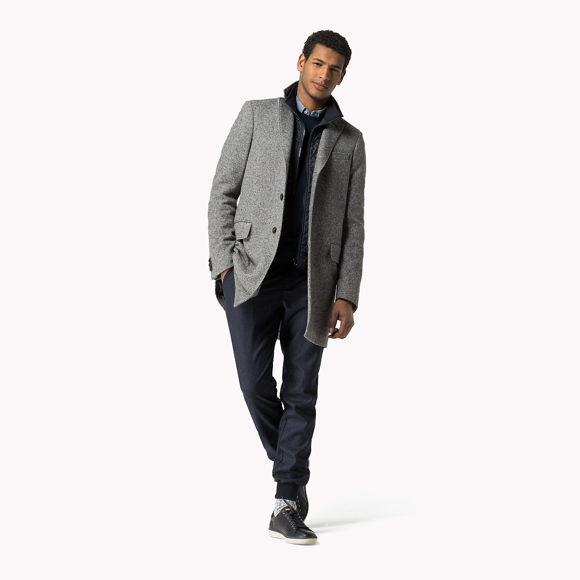 Tommy Hilfiger Wool Blend Twill Coat In Gray For Men Lyst