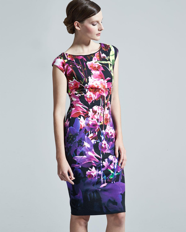 9044a9bd3cd3 Lyst - ESCADA Floral Cap-Sleeve Sheath Dress in Purple