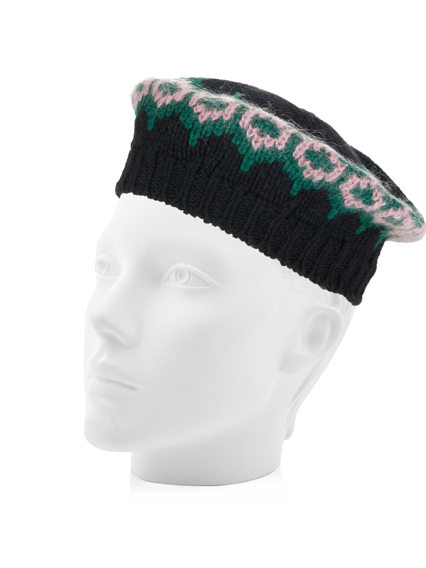 2ac8a37a1f7 Lyst - Gucci Intarsia-Knit Wool Beret Hat in Black