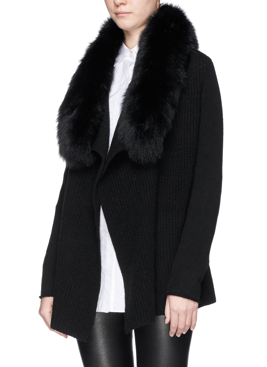 Neiman Marcus Cashmere Collection Luxury Cashmere Zip-Front Cardigan w/ Fox Fur Collar Details 10 GG, 2-ply luxury cashmere cardigan with dyed fox (Finland) fur collar.
