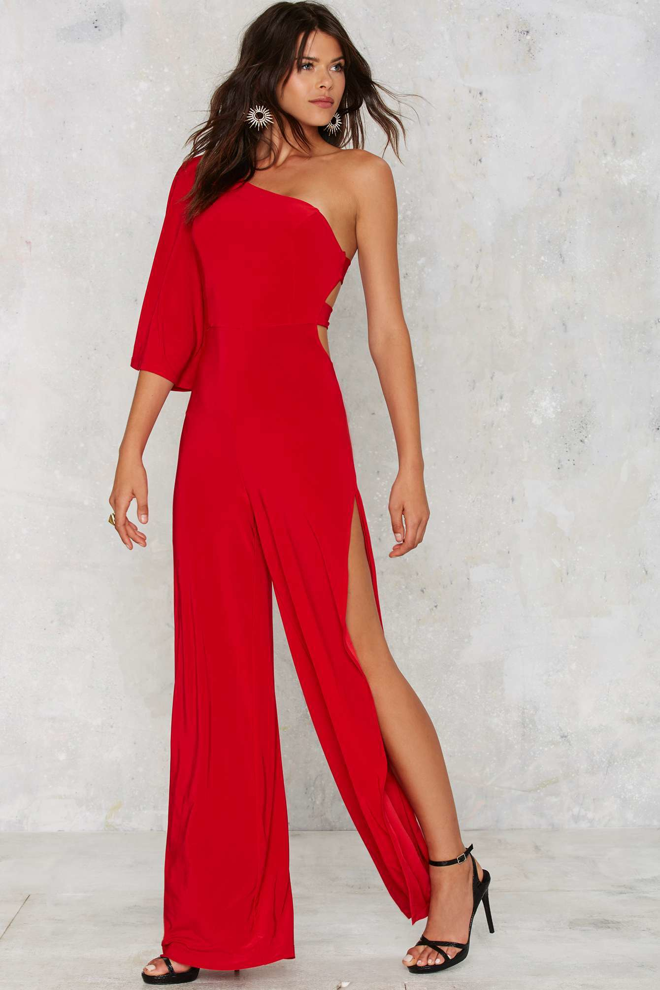 Lyst Nasty Gal Love Fool Asymmetrical Jumpsuit Red In Red