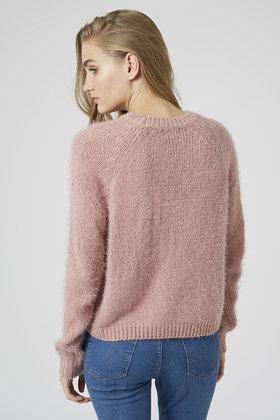 Topshop Fluffy Crew Neck Jumper in Pink | Lyst
