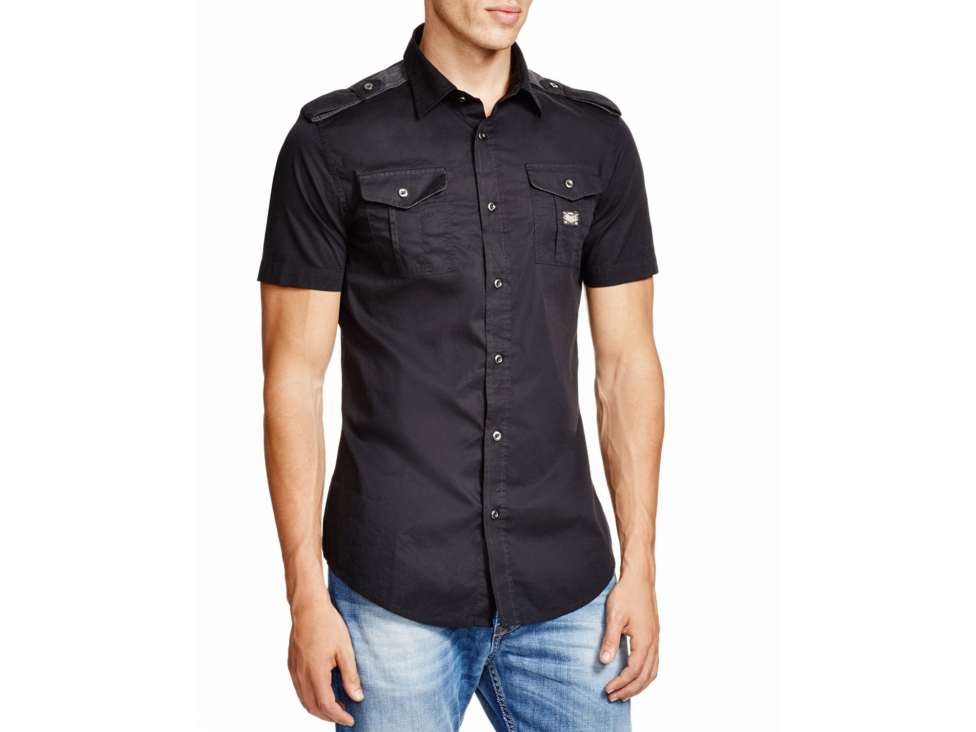 Lyst - Diesel Poplin Stretch Slim Fit Button Down Shirt in Black ...