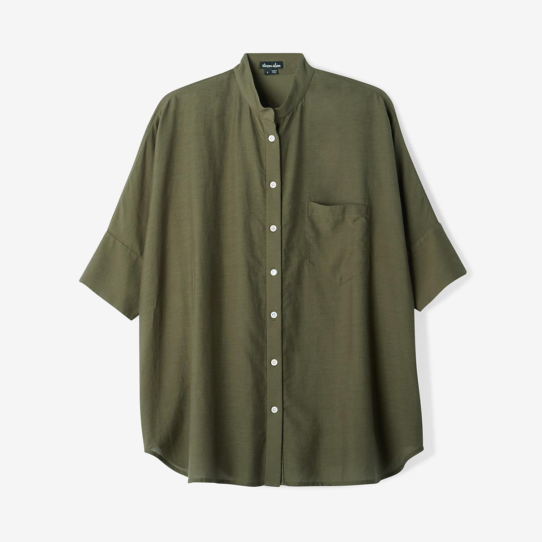 Steven alan oversized stand collar shirt in green for Stand collar shirt womens