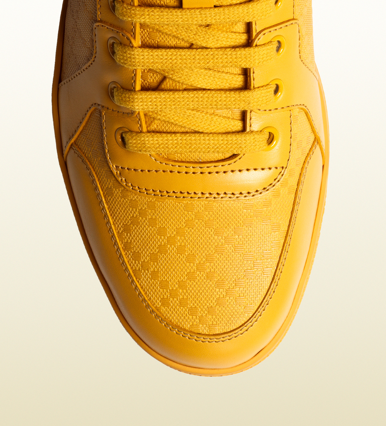 Lyst Gucci Diamante Leather High Top Sneaker In Yellow