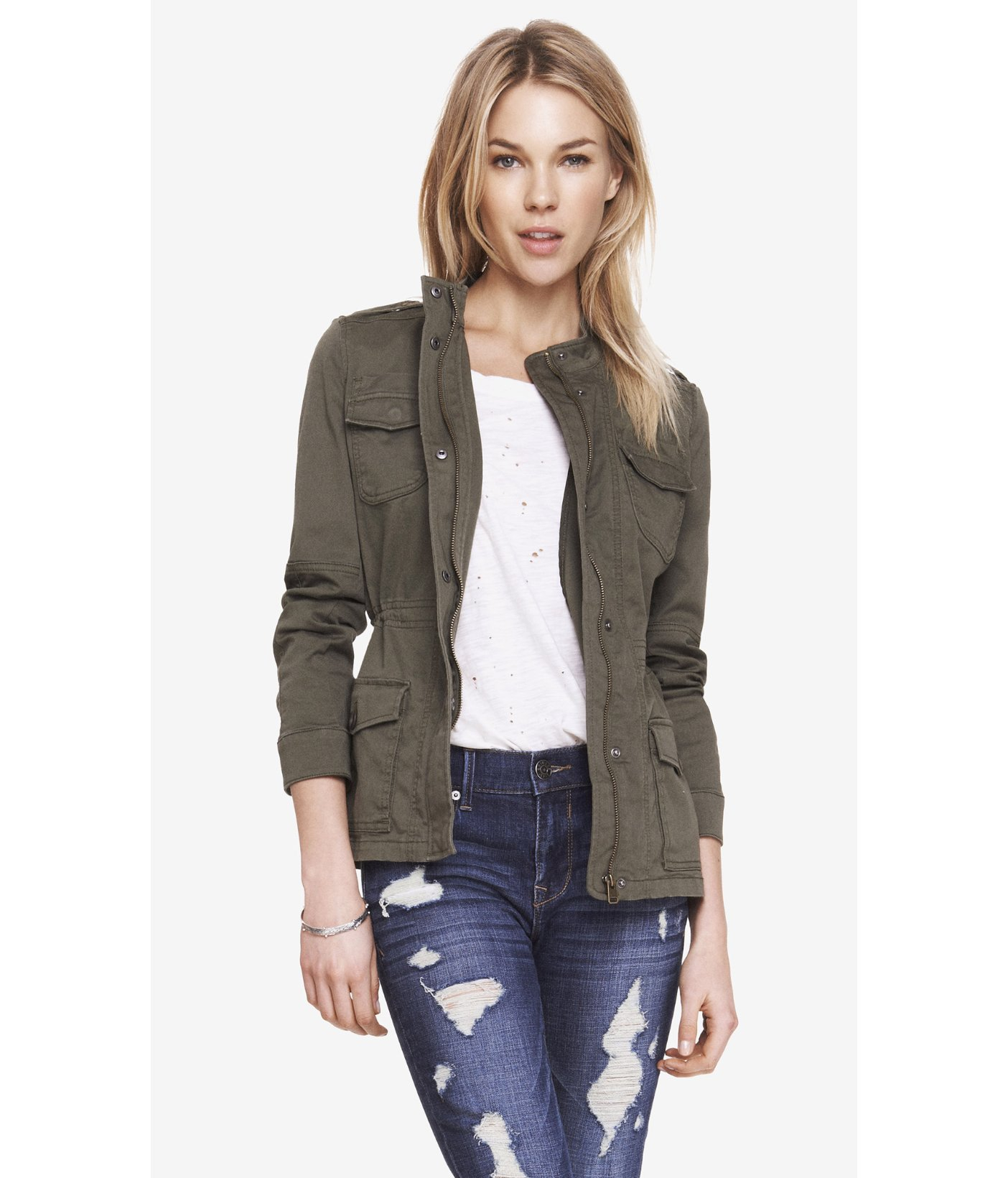 Express Stretch Cotton Military Jacket In Green Lyst