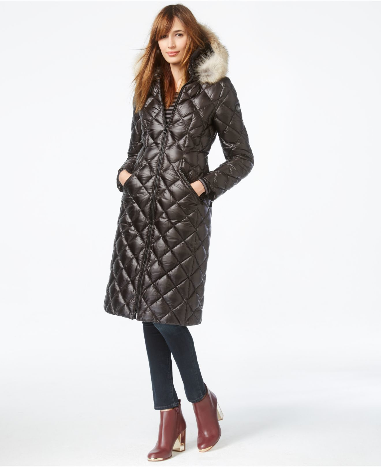 Dawn Levy Coyote Fur Trim Diamond Quilted Down Coat In