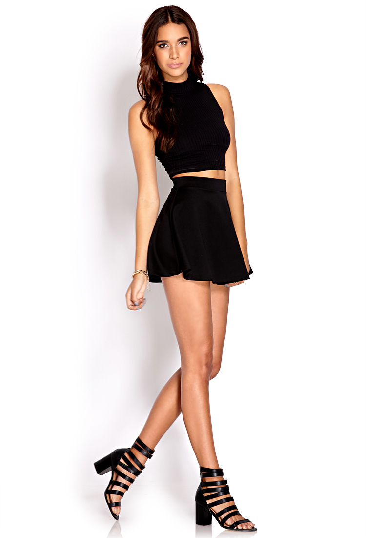 Forever 21 Fresh Ribbed Crop Top In Black Lyst