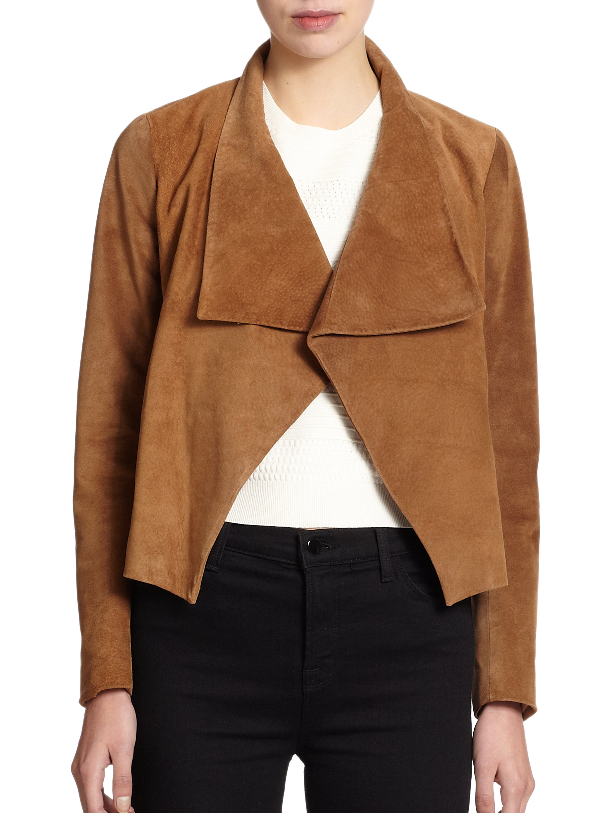 Suede Jacket Outfits For Men 20 Ways To Wear A Suede Jacket: Theory Kanya Cropped Suede Jacket In Brown