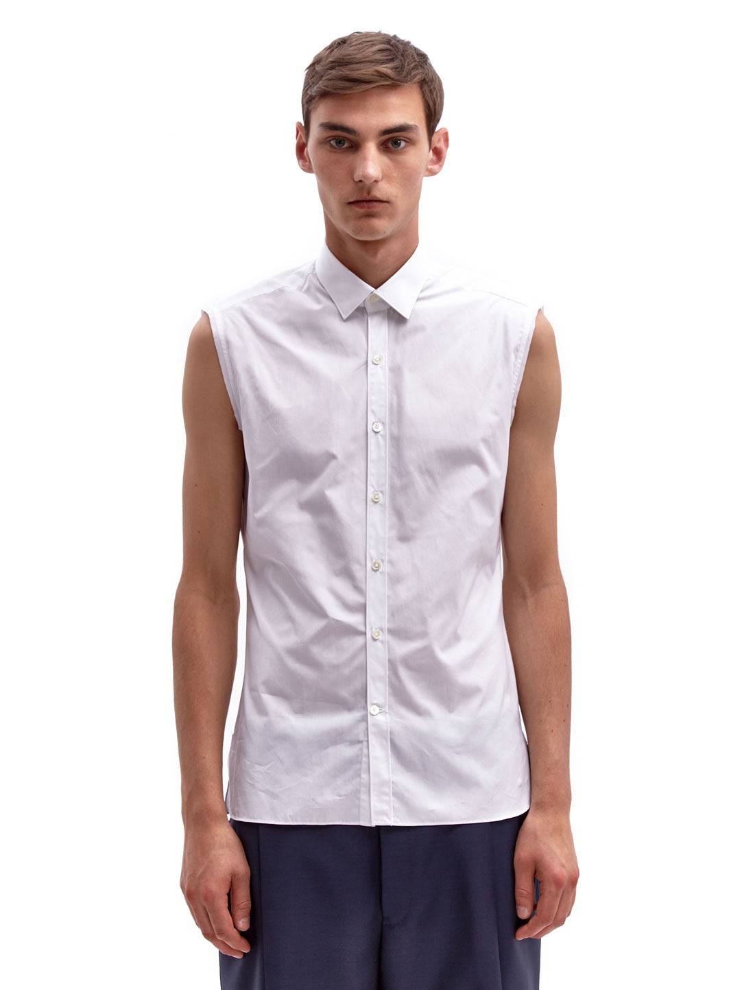 Lyst - Lanvin Mens Sleeveless Raw Edge Cotton Shirt in White for Men