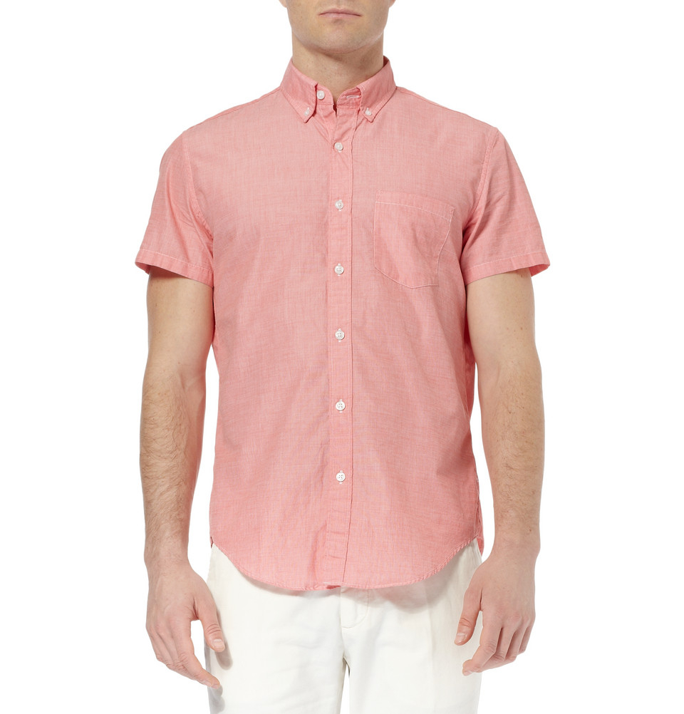 Lyst - J.crew Button-Down Collar Cotton Short-Sleeve Shirt in Pink ...