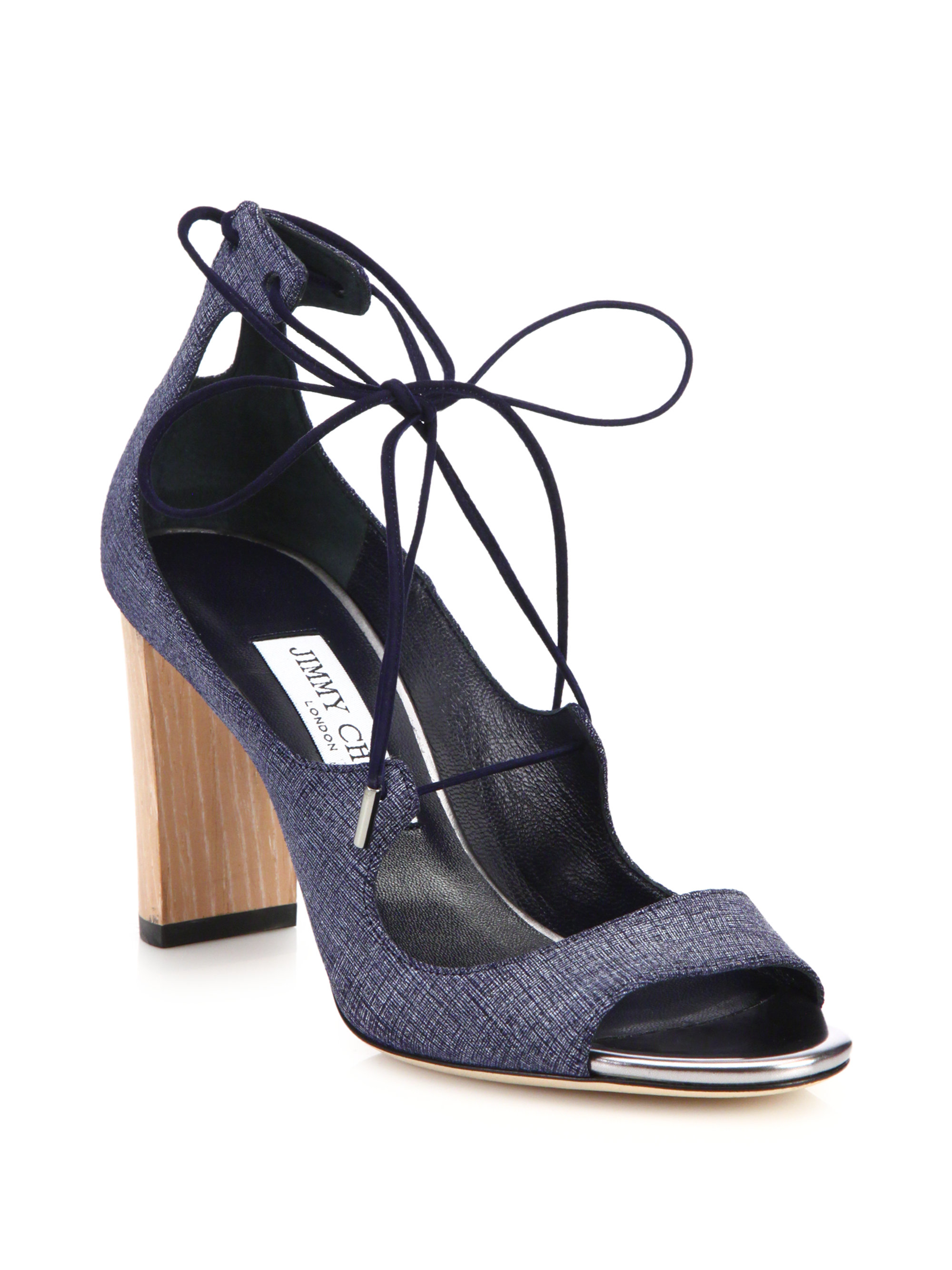 e3c31aabdf47 Lyst - Jimmy Choo Vernie Denim Leather Lace-up Sandals in Blue
