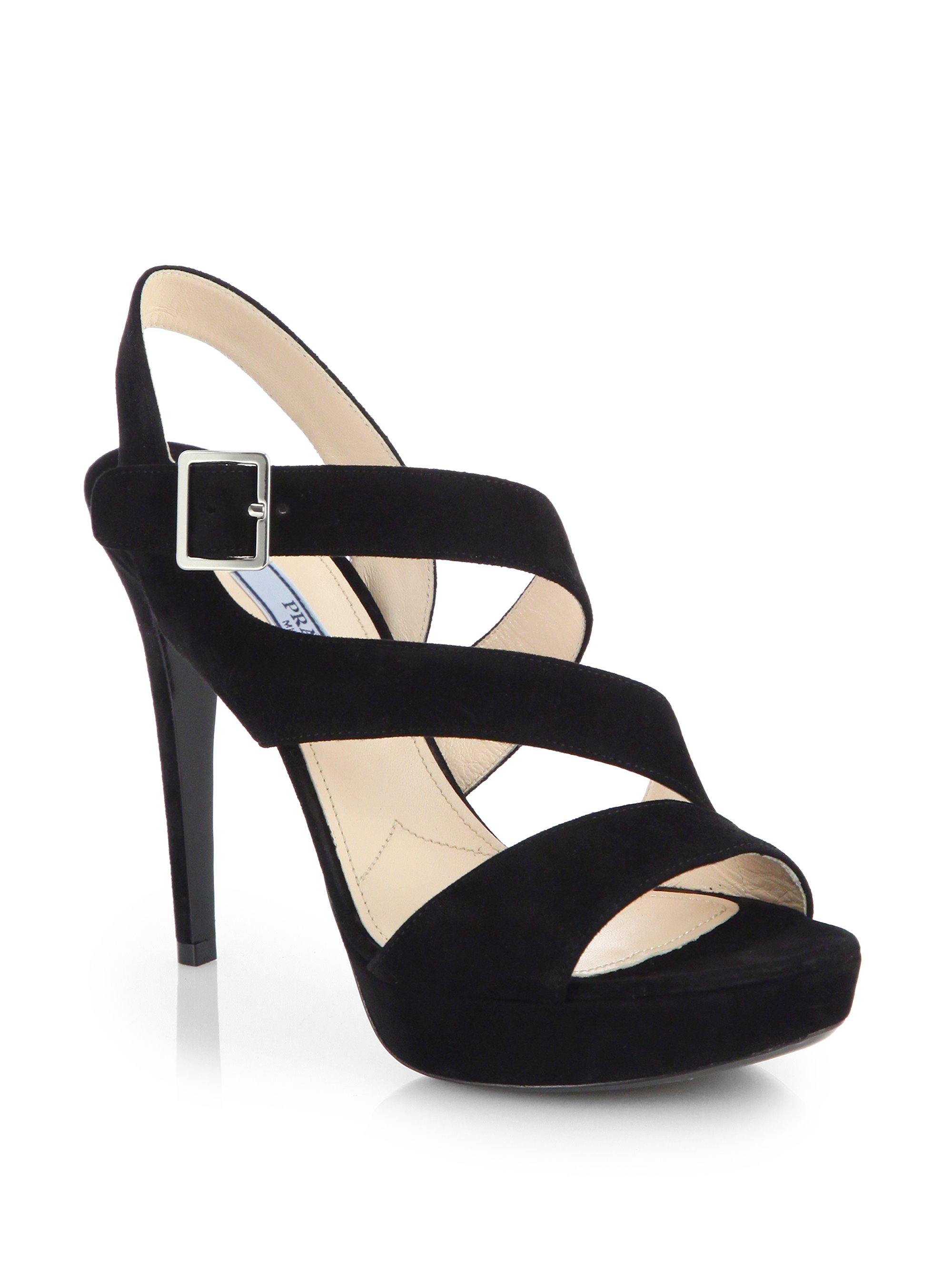 c871ff9b17f Lyst - Prada Strappy Suede Platform Sandals in Black