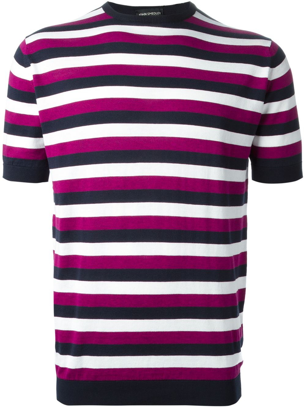John smedley 39 jetty 39 striped t shirt in pink for men pink for Purple and black striped t shirt