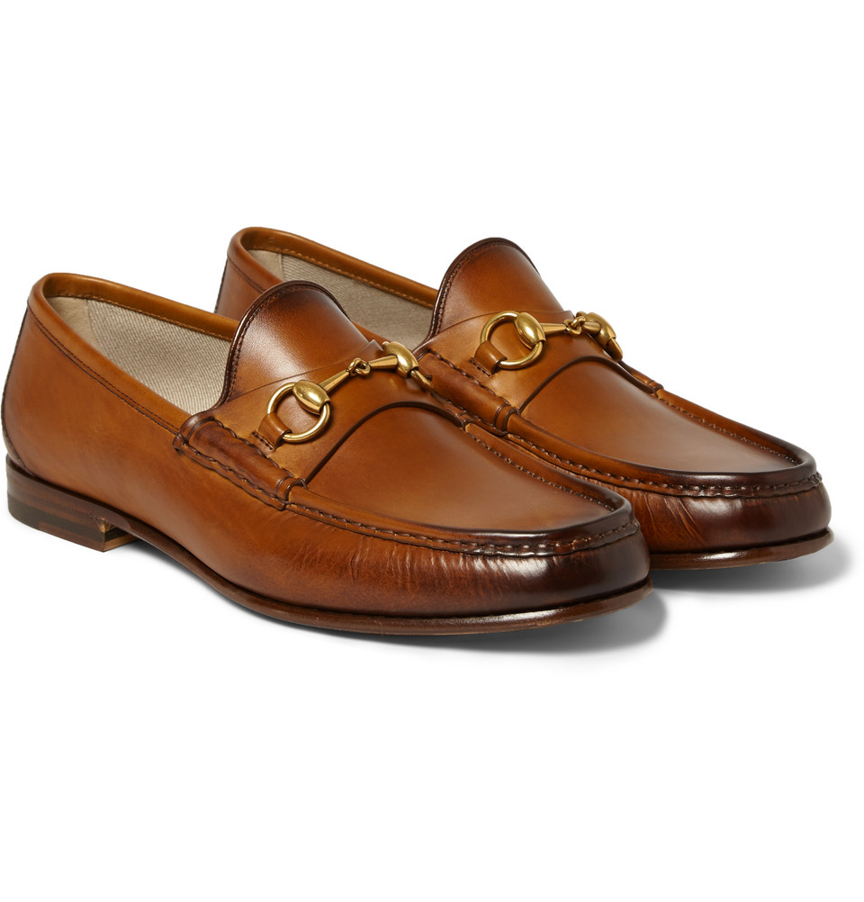 lyst gucci burnished leather horsebit loafers in brown for men. Black Bedroom Furniture Sets. Home Design Ideas