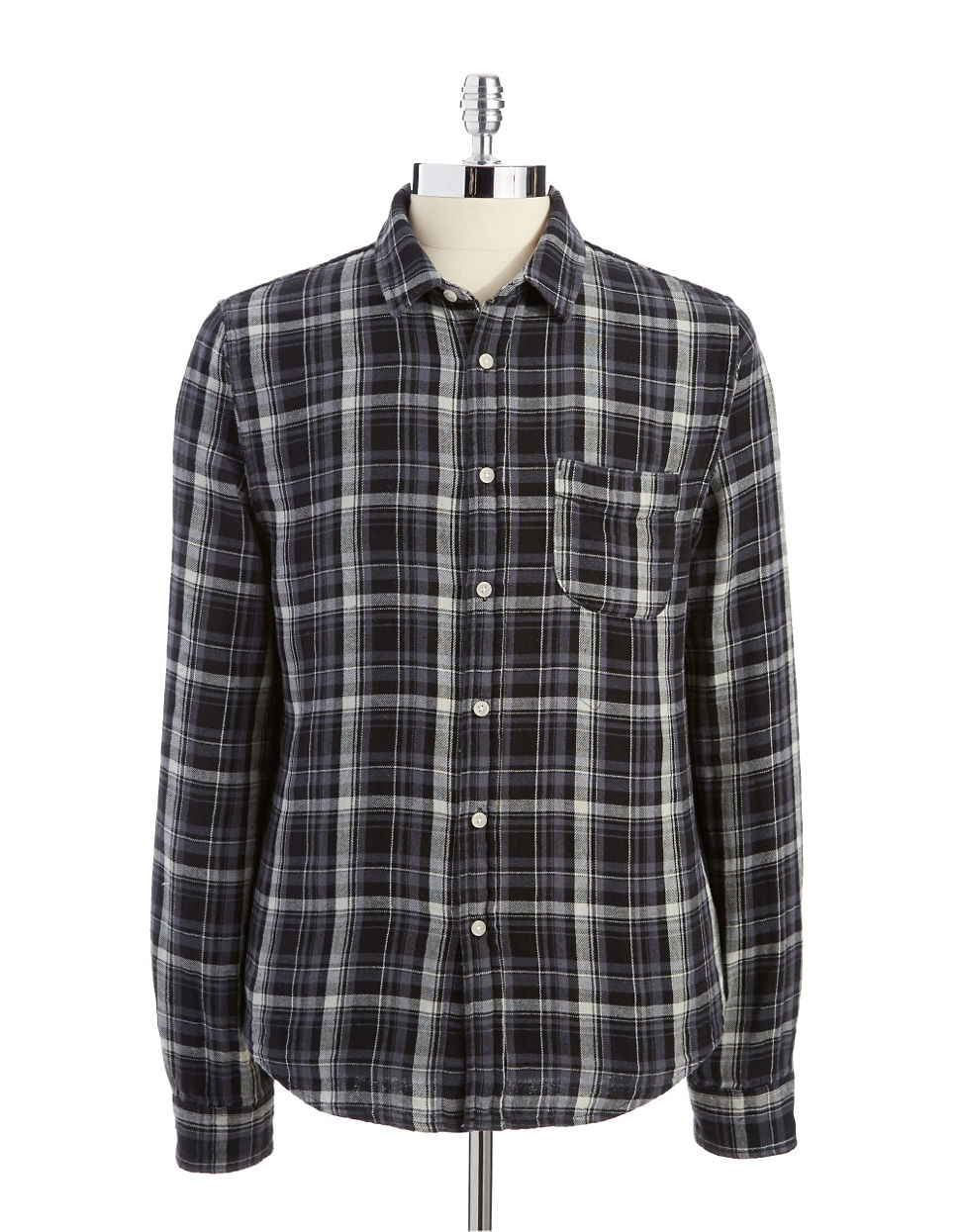Joe 39 s jeans joes jeans plaid woven flannel shirt in black for Flannel shirt and jeans