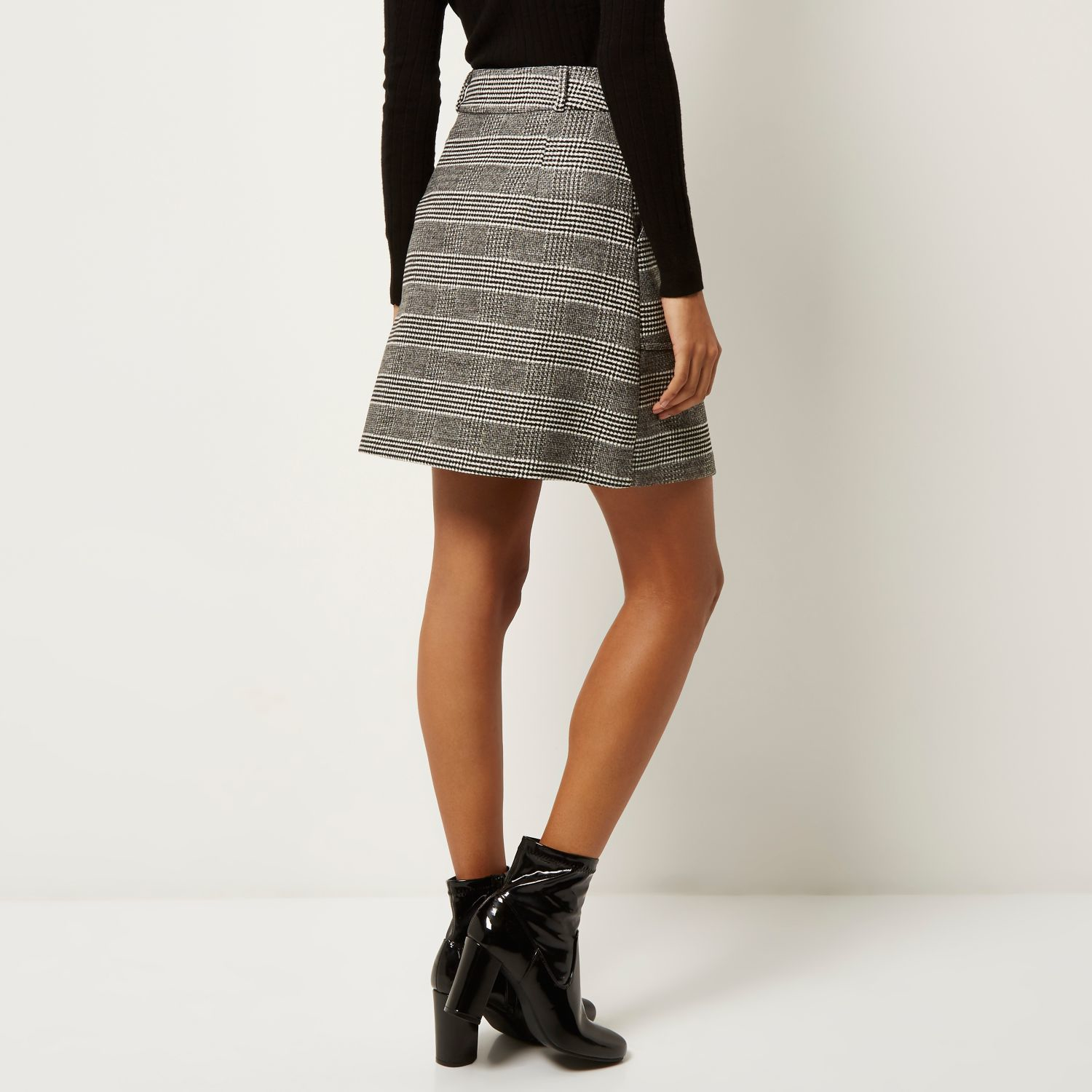River island Black Dogtooth Check A-line Skirt in Gray | Lyst