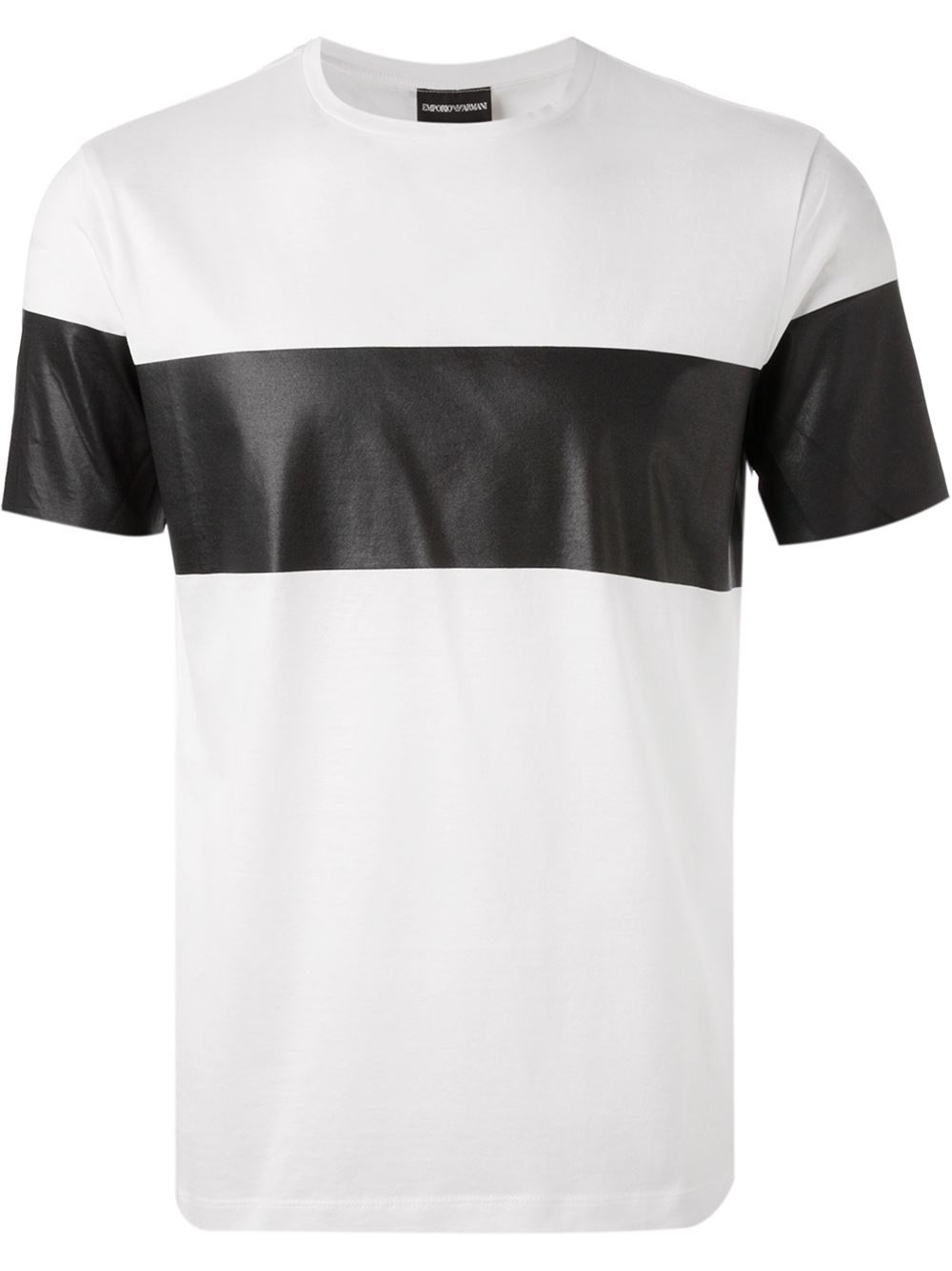 emporio armani contrasting stripe t shirt in white for men. Black Bedroom Furniture Sets. Home Design Ideas