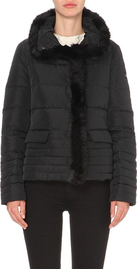 b38b3357b135 Armani Jeans Faux Fur-trim Quilted Jacket