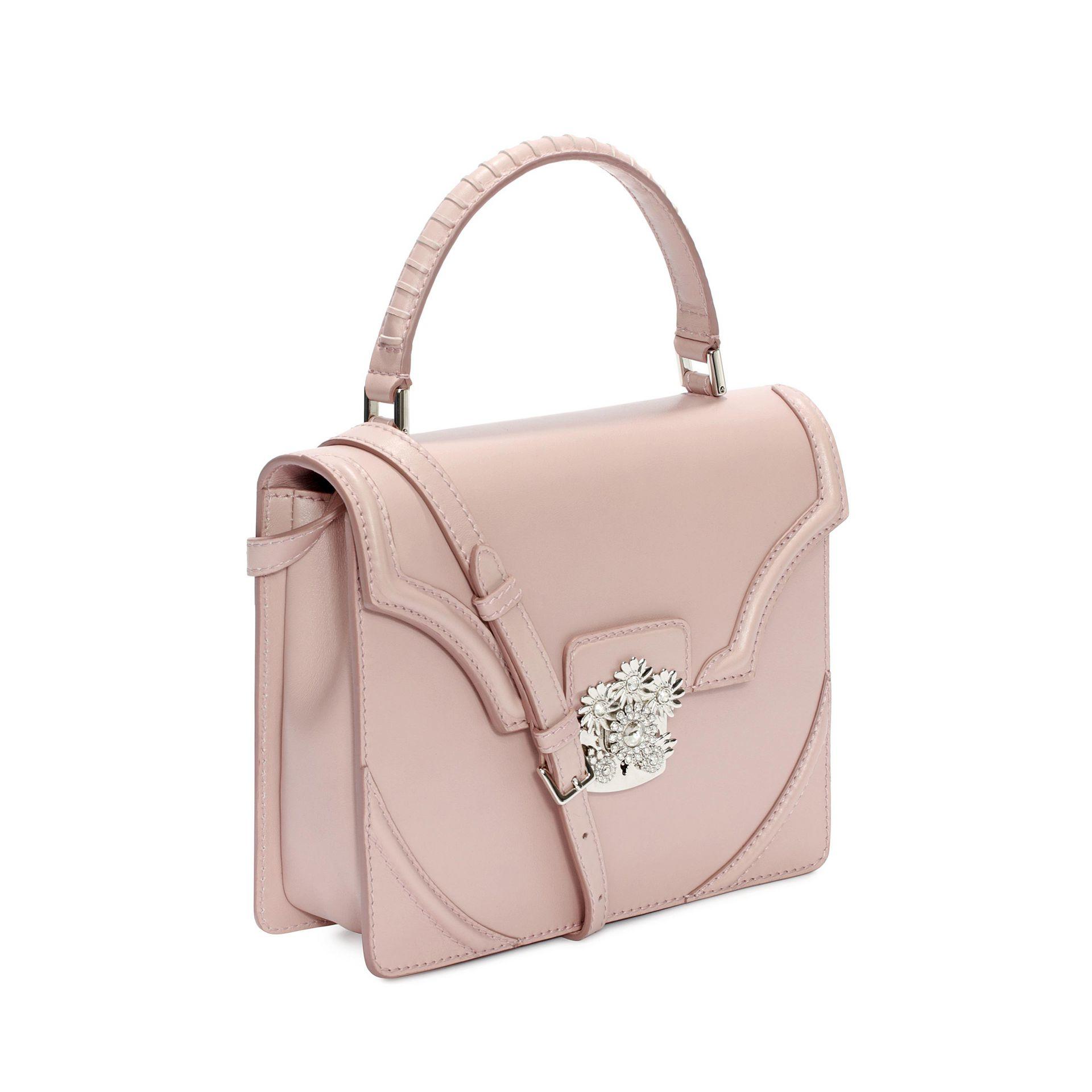 Lyst Alexander Mcqueen Calf Leather Flower Satchel In Pink