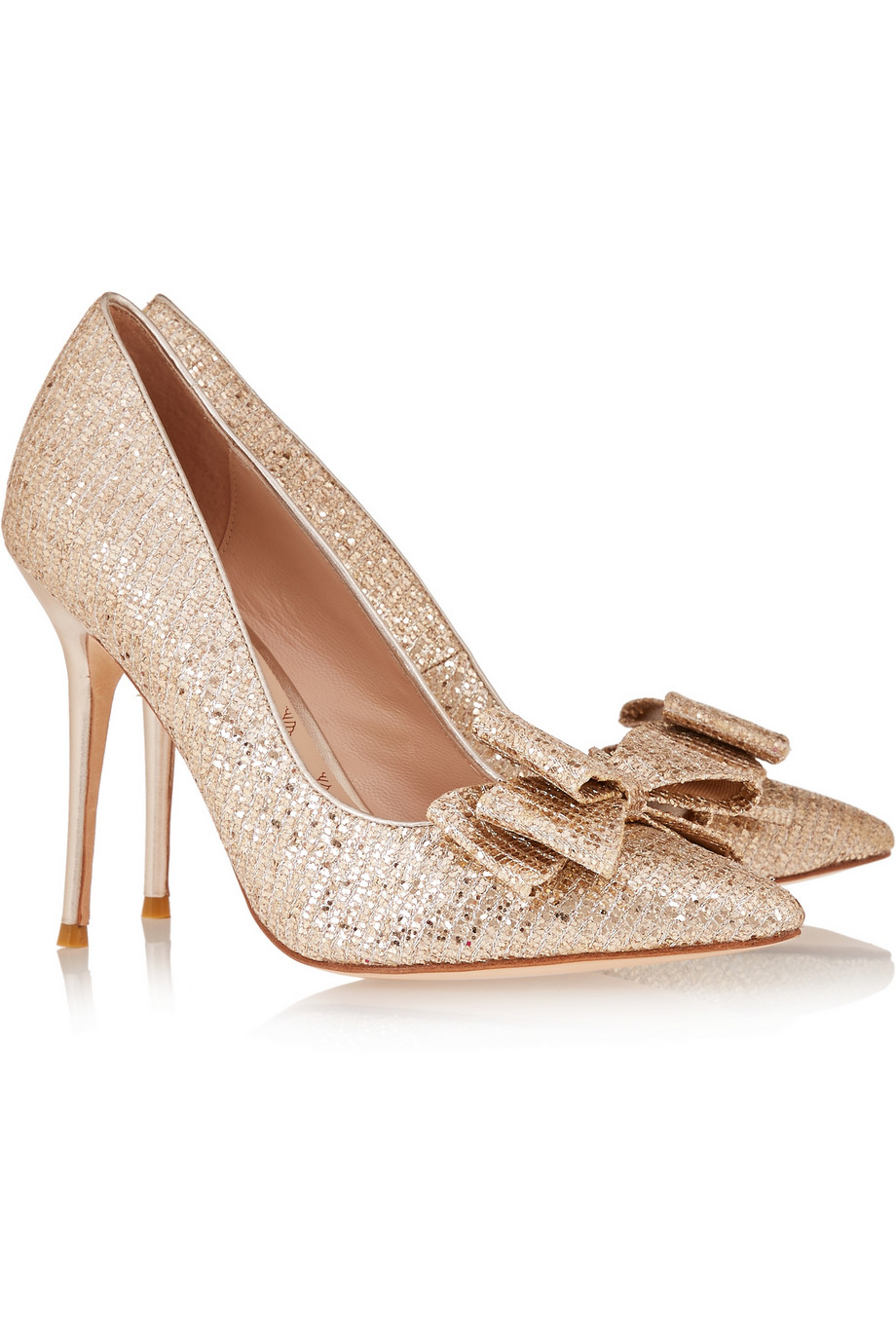 Lucy choi Rose Bow-Embellished Glitter-Finished Pumps in Metallic ...