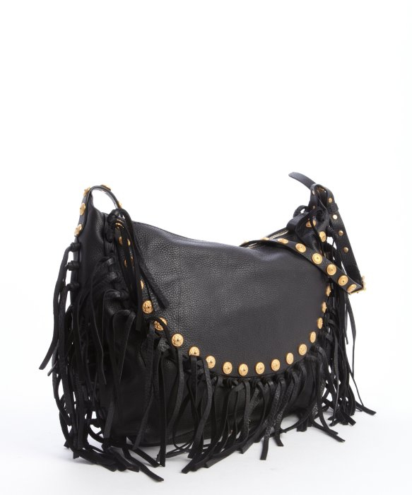 Valentino Black Leather Studded Fringe Shoulder Bag in Black | Lyst