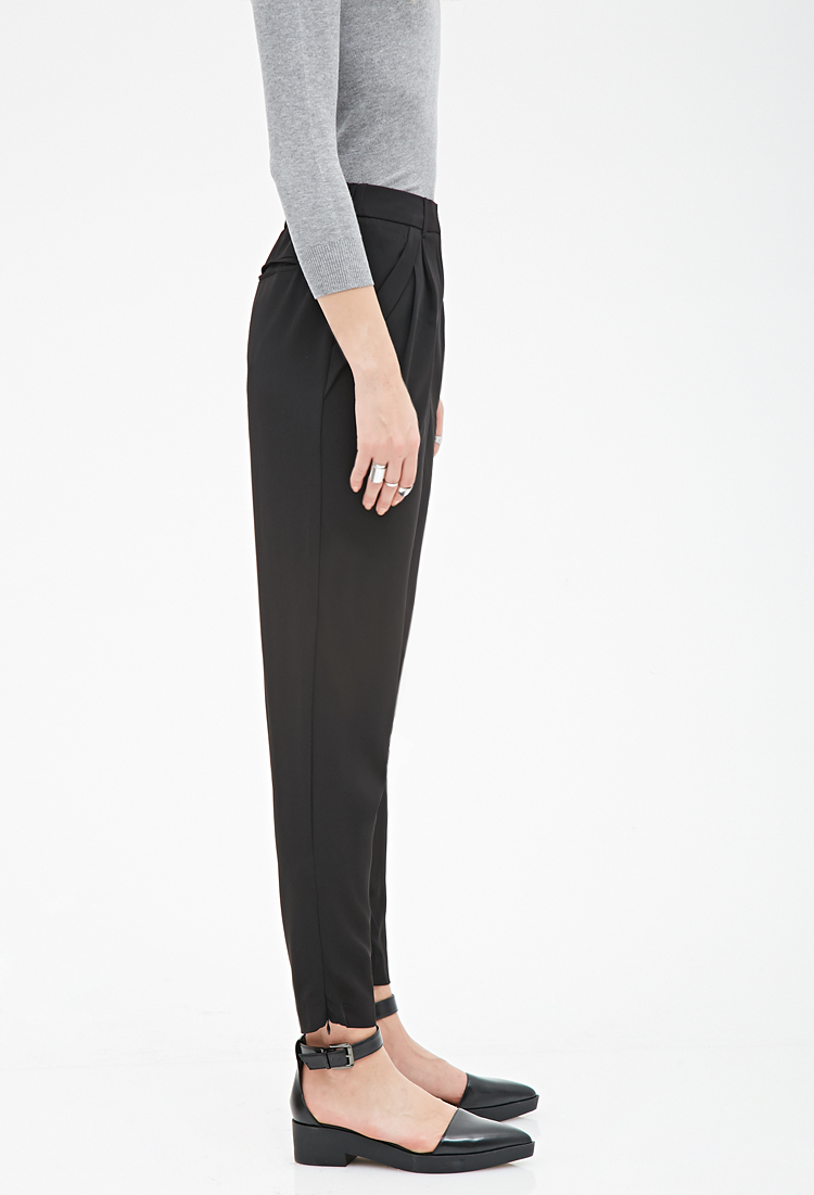 Lyst Forever 21 Cuffed Pocket Woven Pants You Ve Been Added To The
