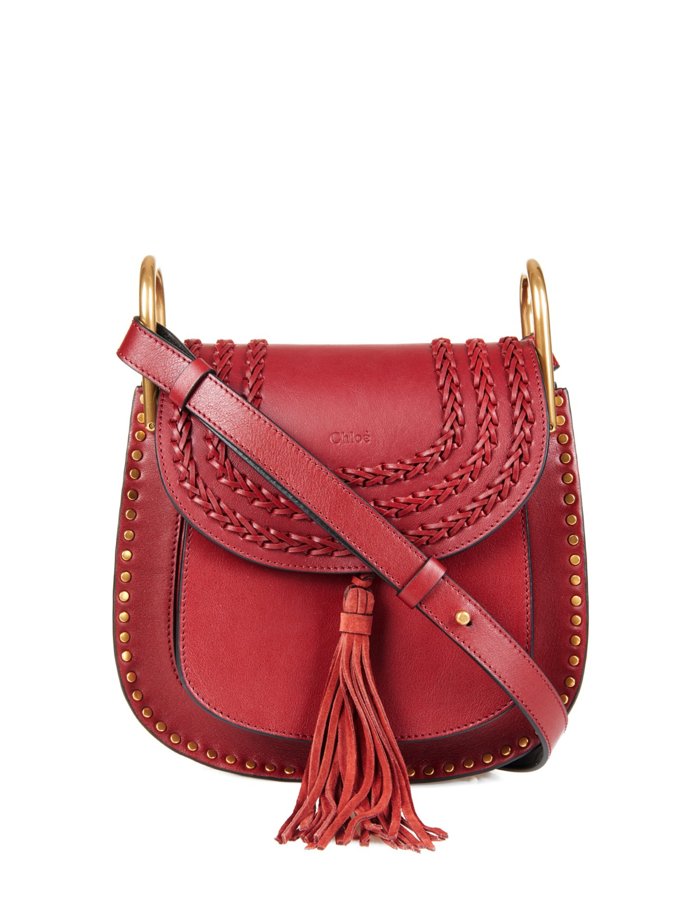 401167326c22 Lyst - Chloé Hudson Small Leather Shoulder Bag in Red
