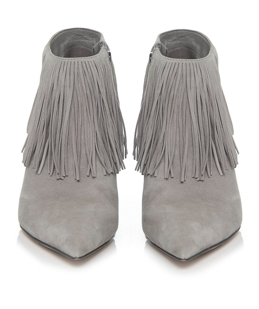 Sam edelman Kandice Suede Fringe Boots in Gray | Lyst