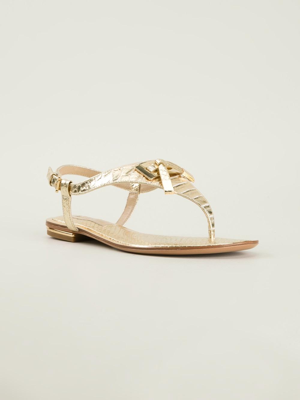 Lyst Michael Kors Thong Sandals In Metallic