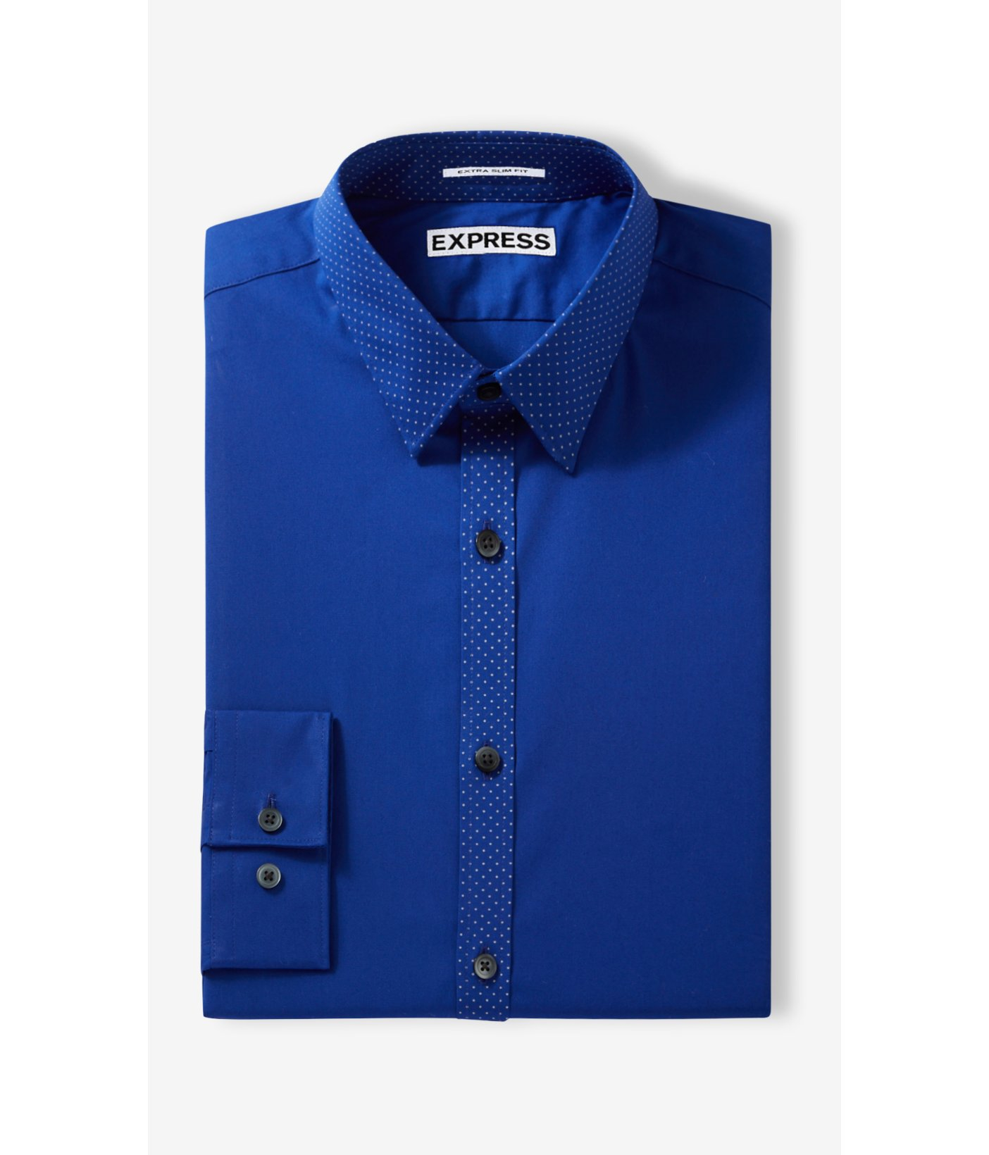 Express extra slim micro dot trim going out shirt in blue for Extra slim dress shirt