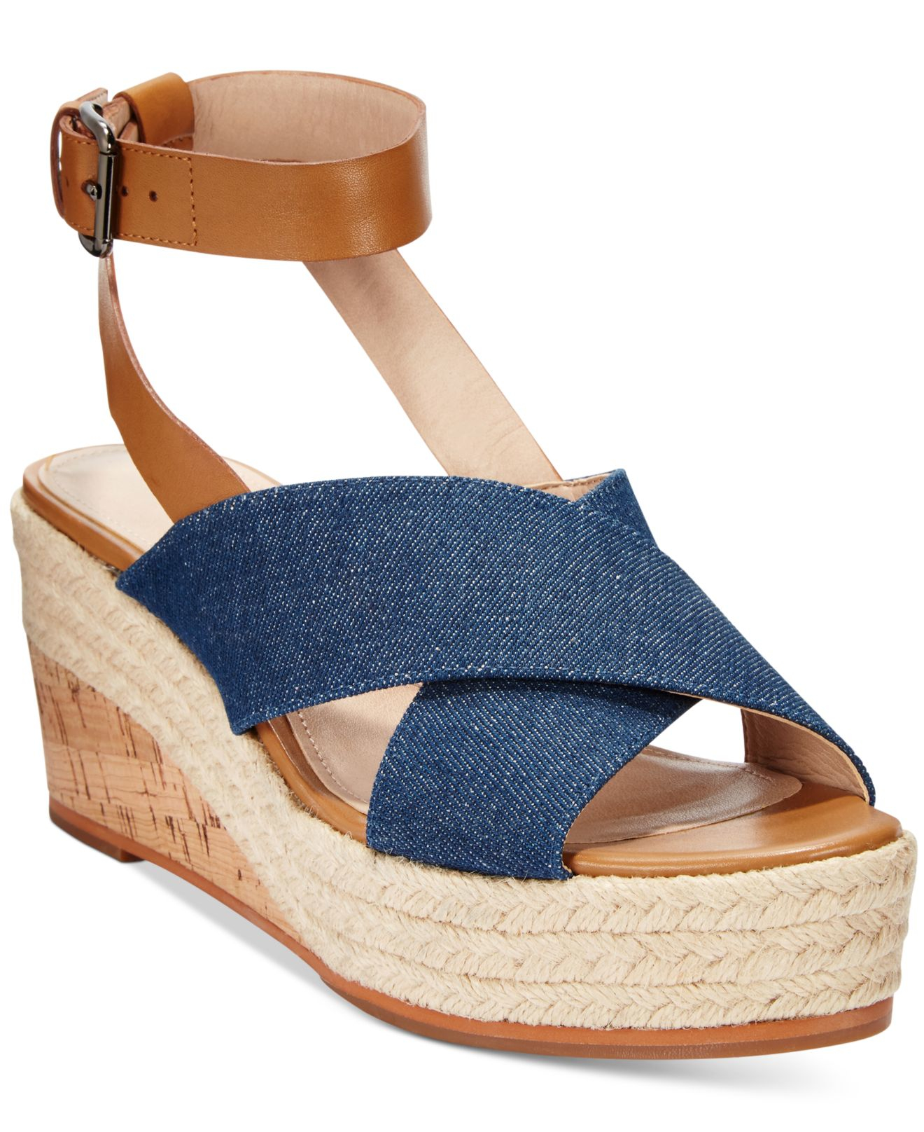 46047efd0a7d Lyst - French Connection Liora Platform Wedge Sandals in Blue