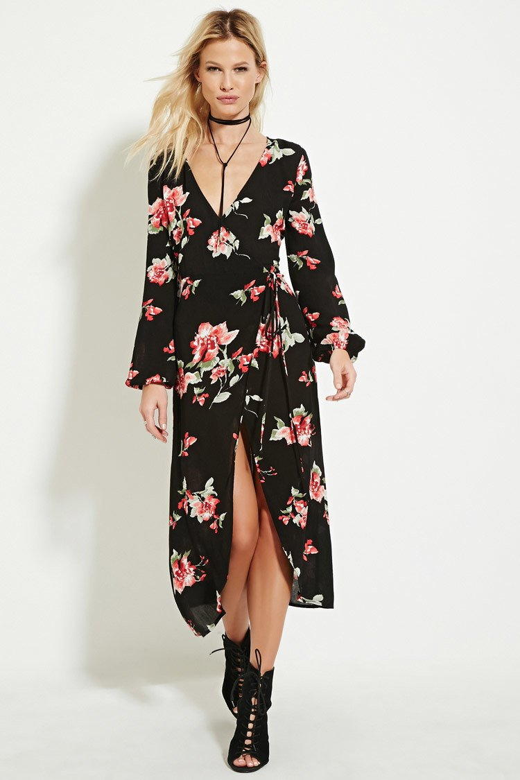 461dc278711 Forever 21 Floral Print Wrap Midi Dress in Red - Lyst