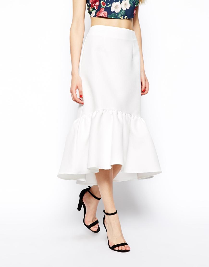 8200c64bb8 ASOS Peplum Hem Pencil Skirt in Texture in Natural - Lyst