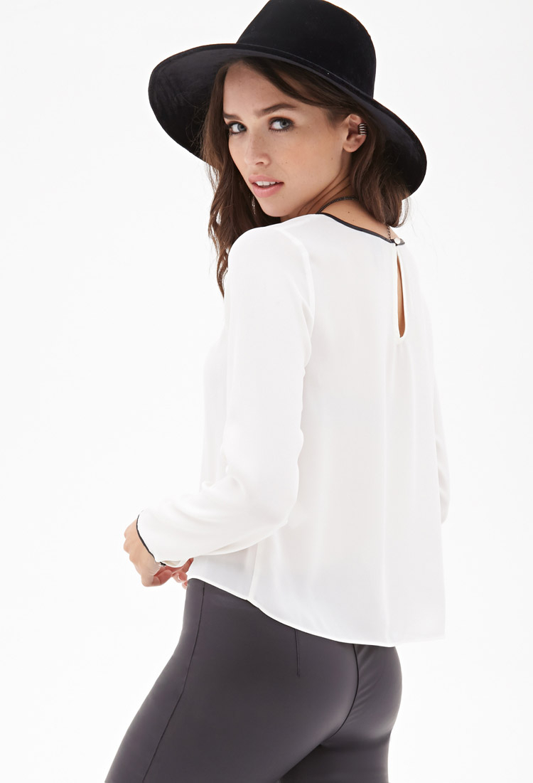 1721442a3af0c2 Forever 21 Faux Leather-trimmed Chiffon Blouse You ve Been Added To ...
