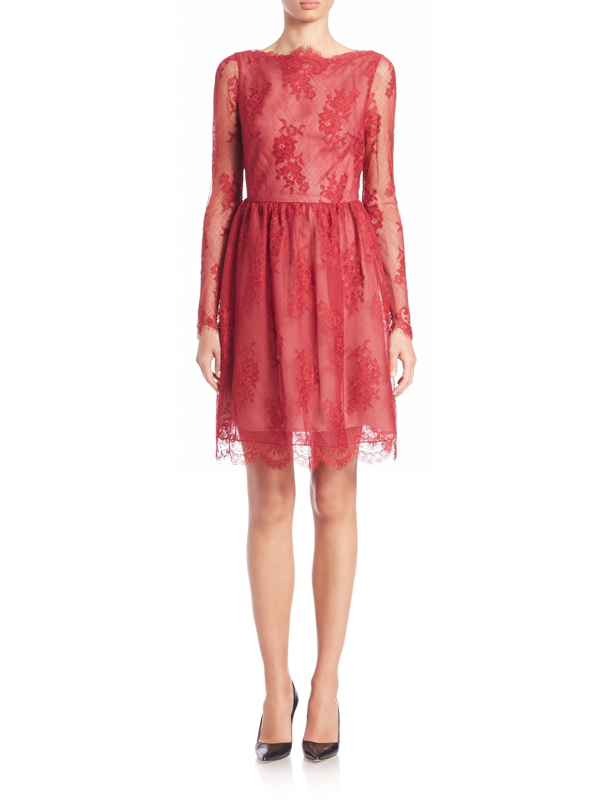 Erdem Dolores Lace Dress in Red - Lyst