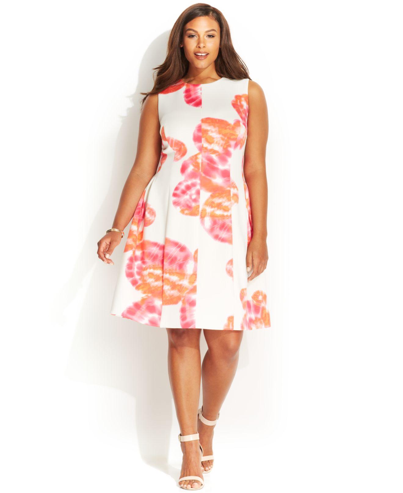 83a50685e81 Lyst - Calvin Klein Plus Size Floral-Print Scuba Dress in Pink