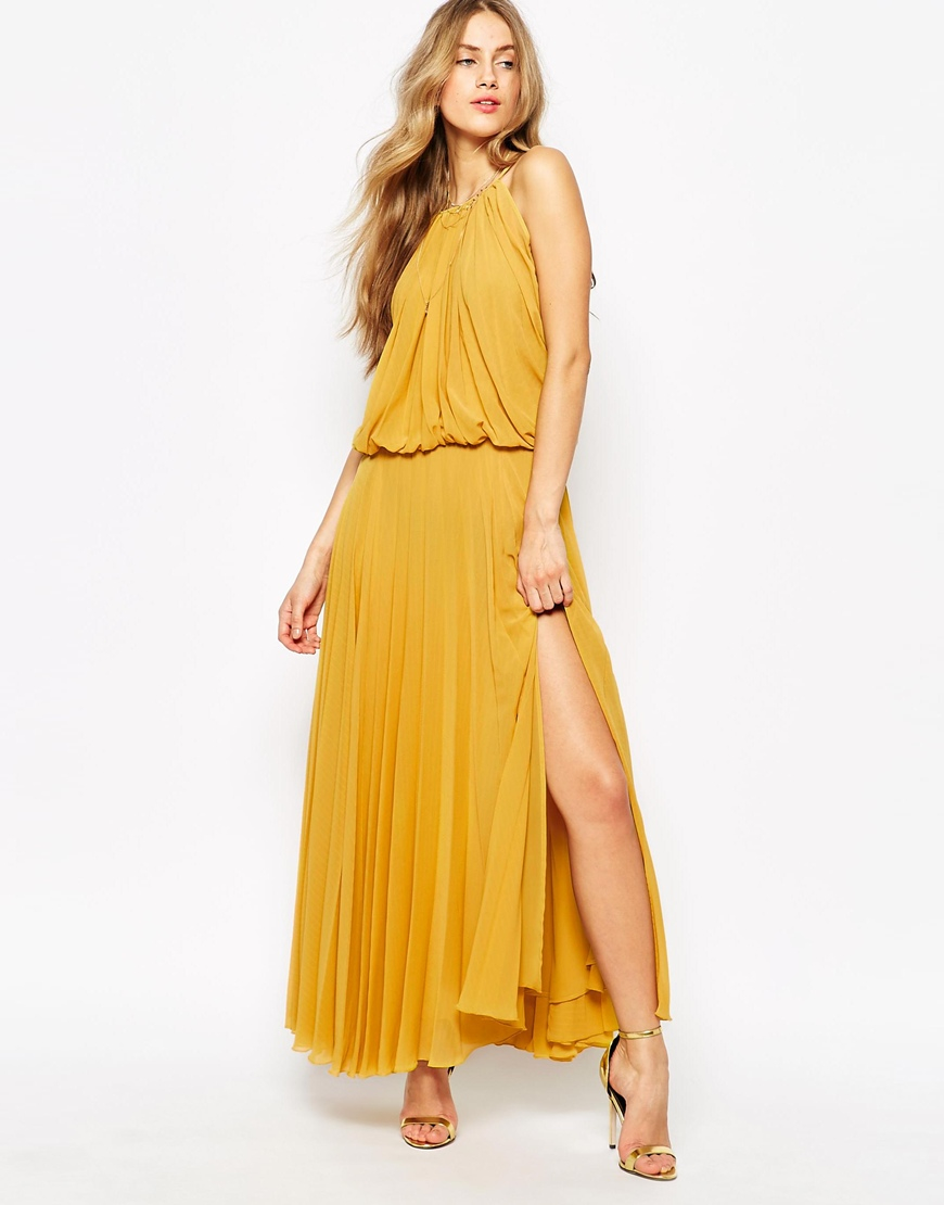 Mango lace belted maxi dress