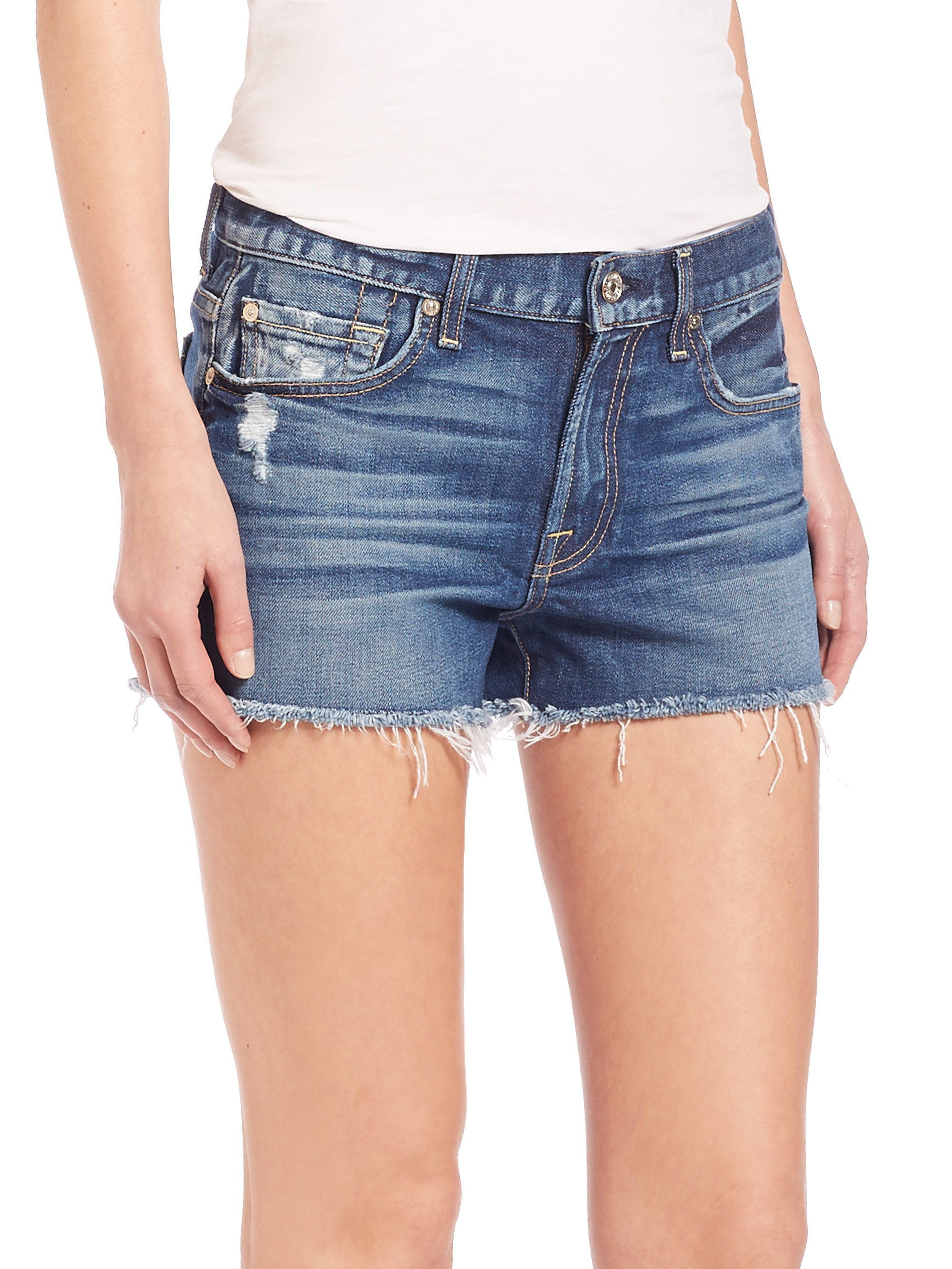 6a5f5000521f2 7 for all mankind Distressed Cut-off Shorts in Blue