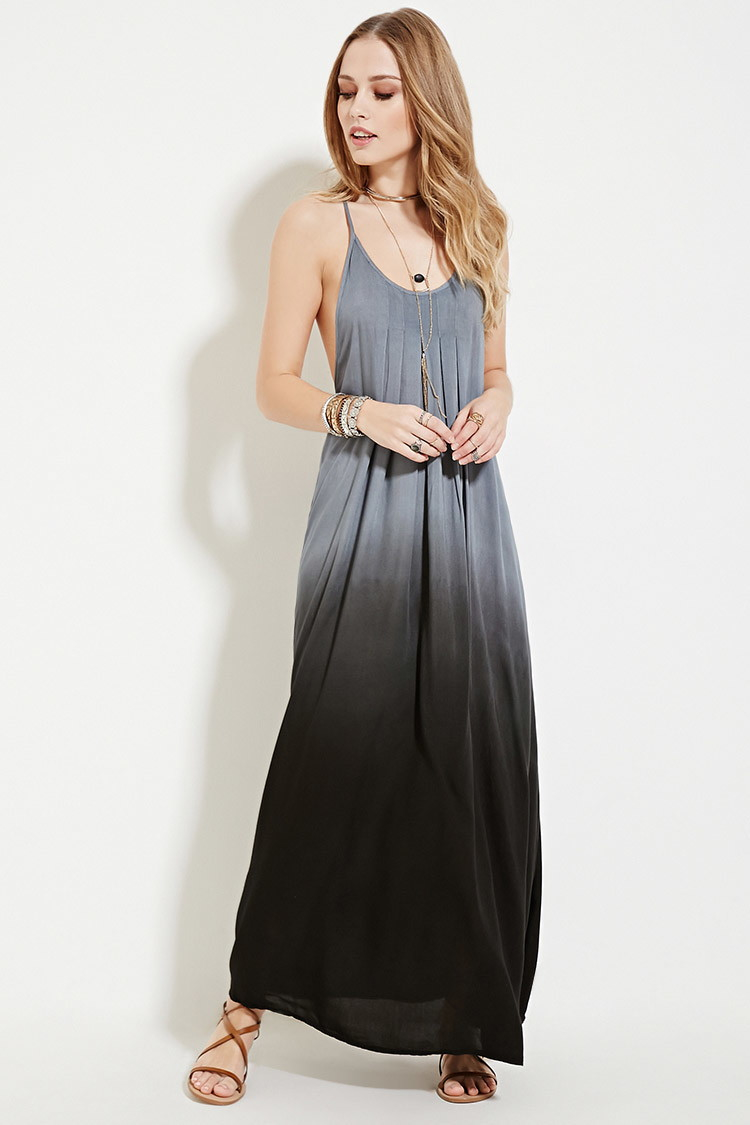Forever 21 Boho Me Pleat Ombre Maxi Dress in Black | Lyst