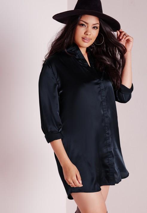 Plus Size Black Silk Dress