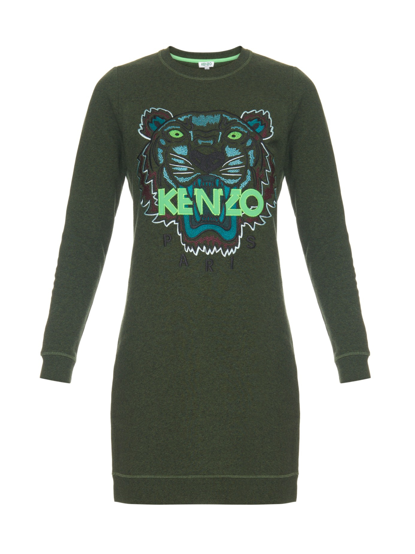 c2f9f186 KENZO Icons Tiger-Embroidered Sweater Dress in Green - Lyst